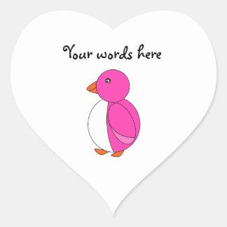 Pink penguin heart sticker
