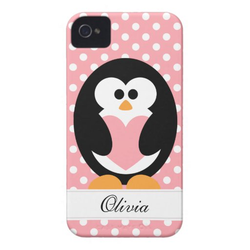 Pink Penguin Love iPhone 4 Cover