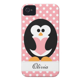 Pink Penguin Love iPhone 4 Case-Mate Case