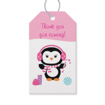 Pink Penguin Party Favor Tags