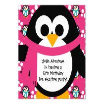 """Pink Penguin Party Invitation 5.25"""" Square Invitation Card"""