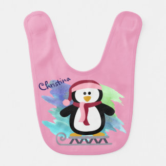 Pink Penguin Sledding Baby Bib