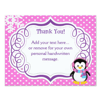 Pink Penguin Thank You Card