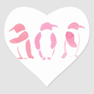Pink Penguin Trio Heart Sticker