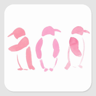 Pink Penguin Trio Square Sticker