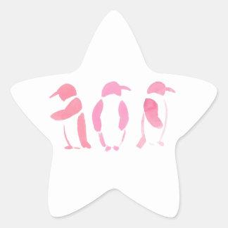 Pink Penguin Trio Star Sticker