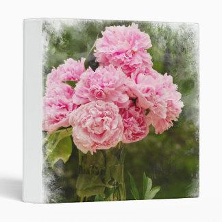 """Pink Peonies 1"""" Photo Album 3 Ring Binder"""