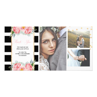 Pink Peonies and Black Stripes Wedding Thank You Card