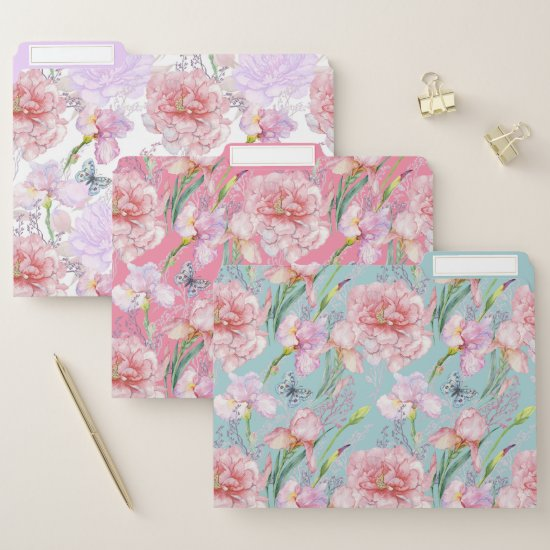Pink Peonies and Irises on Mint Lavender Pink File Folder