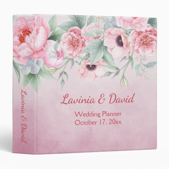 Pink Peonies Anemones Watercolor Flowers Wedding Binder