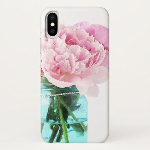 Pink Peonies Blue Mason Jar Phone Case