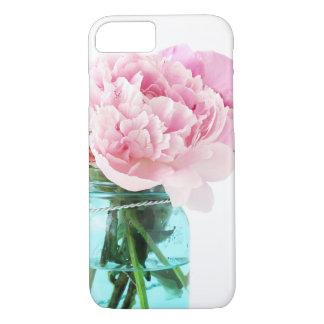 Pink Peonies Blue Mason Jar iPhone 7 Case