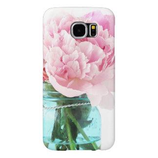 Pink Peonies Blue Mason Jar Samsung Galaxy S6 Cases