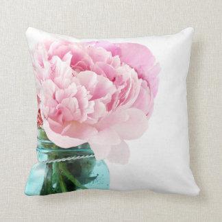 Pink Peonies Blue Mason Jar Throw Pillow