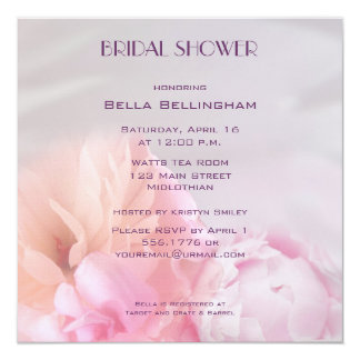 "Pink Peonies Bridal Shower Invitation 5.25"" Square Invitation Card"