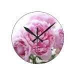 pink peonies clock