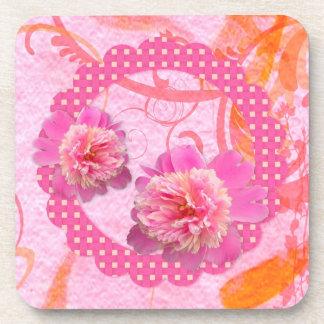Pink Peonies Cork Coaster