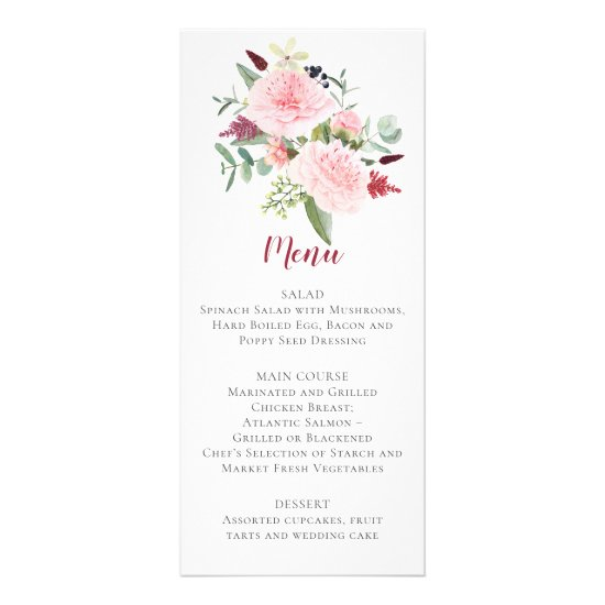Pink Peonies Eucalyptus Greenery Wedding Menu
