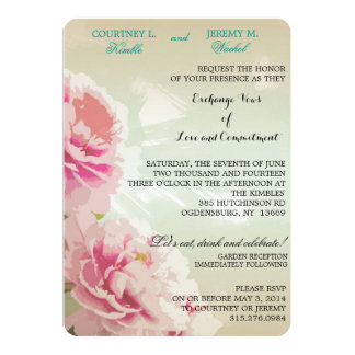 Pink Peonies Floral Wedding Invitation