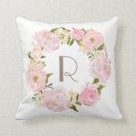 Pink Peonies Floral Wreath Monogram Pillow