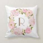 "Pink Peonies Floral Wreath Monogram Pillow<br><div class=""desc"">Customizable monogram pillow featuring blush pink peonies. Similar items can be found in my store.</div>"