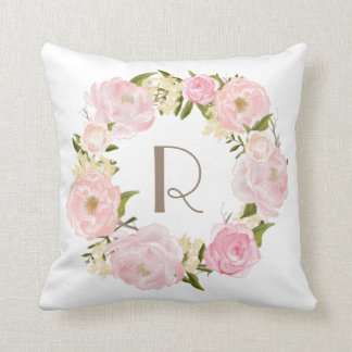 Pink Peonies Floral Wreath Monogram Pillow