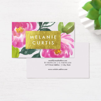Pink Peonies Gold Faux Foil Business Card