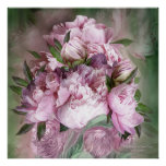 Pink Peonies In Peony Vase - Sq-Art Poster/Print Poster