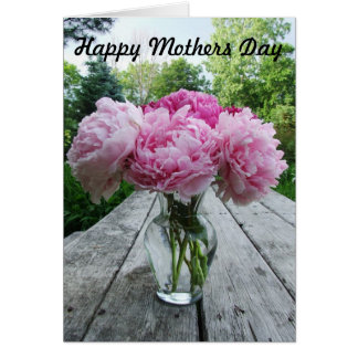 Pink Peonies in Vase Mothers Day Card