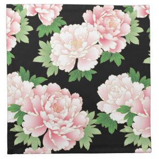 Pink Peonies Japanese Floral Kimono Cloth Napkin