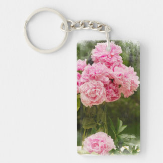 Pink Peonies Keychain