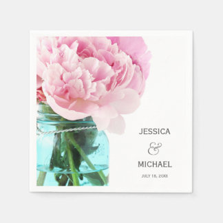 Pink Peonies Mason Jar Personalized Wedding Napkin