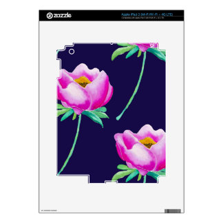 Pink Peonies on navy Decal For iPad 3