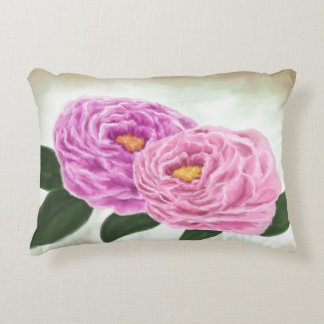 Pink Peonies Painting Trow Pillow