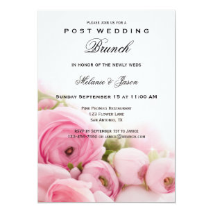Post wedding brunch invitations announcements zazzle pink peonies post wedding brunch invitation filmwisefo