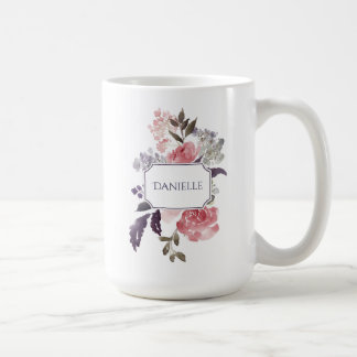 Pink Peonies Purple and Green Leaves Monogram Coffee Mug