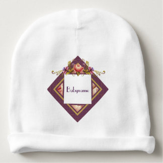 Pink Peonies & Purple Thistle Frame Personalized Baby Beanie