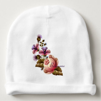 Pink Peonies & Purple Thistle Personalized Baby Beanie