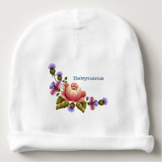 Pink Peonies & Purple Thistle Tole Personalized Baby Beanie