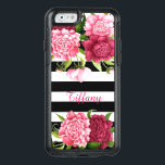 "Pink Peonies Striped Otterbox iPhone 6 Case<br><div class=""desc"">Stylish Otterbox brand iPhone 6 case done in a black and white horizontal striped pattern. A pretty vintage artwork of pink peony flowers,  decorate the top and bottom of the case.  Personalize the pink text to read what you want.</div>"