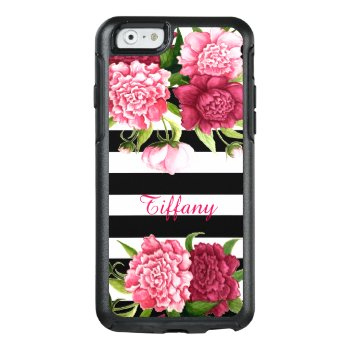 Pink Peonies Striped Otterbox Iphone 6 Case by DizzyDebbie at Zazzle