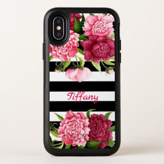 Pink Peonies Striped Otterbox iPhone X Case