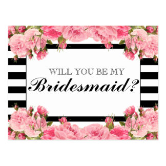 Pink Peonies & Stripes | Bridesmaid Postcard