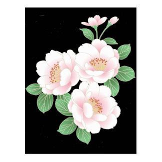 Pink Peonies Vintage Japanese Fine Art Postcard