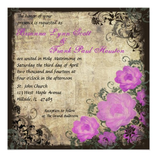 Pink Peonies Vintage Wedding Invitation