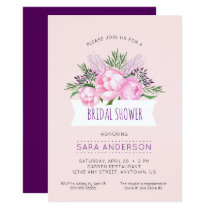 Pink Peonies Watercolor Bridal Shower Card