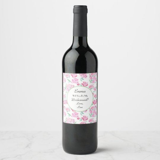 Pink Peonies Watercolor Bridesmaid Wine Label