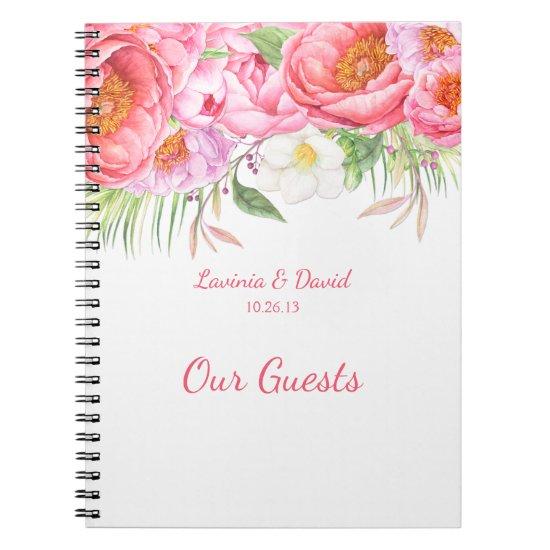 Pink Peonies Watercolor Florals Guest Book