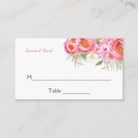 Pink Peonies Watercolor Florals Place Cards