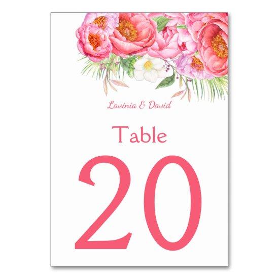 Pink Peonies Watercolor Florals Table Numbers